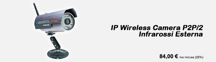 IP Wireless Camera P2P/2 Infrarossi Esterna
