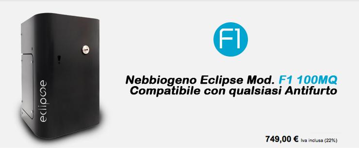 Nebbiogeno Eclipse Mod.F1 100MQ Compatibile con qualsiasi Antifurto
