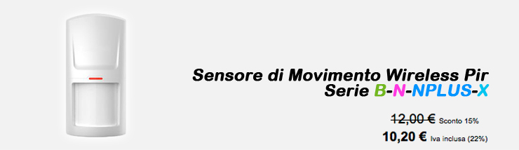 Sensore di Movimento Wireless Pir Serie B-N-NPLUS-X