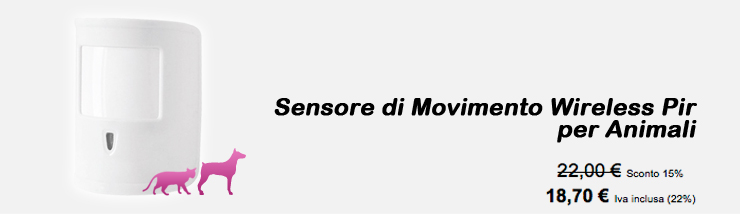 Sensore di Movimento Wireless Pir per Animali