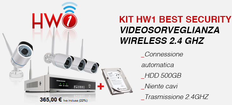 KIT HW1 BEST SECURITY VIDEOSORVEGLIANZA WIRELESS 2.4 GHZ