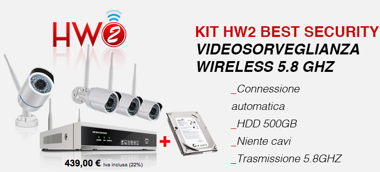 KIT HW2 BEST SECURITY VIDEOSORVEGLIANZA WIRELESS 5.8 GHZ