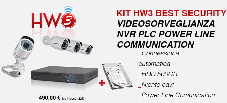 KIT HW3 Security Videosorveglianza NVR PLC Power Line Communication