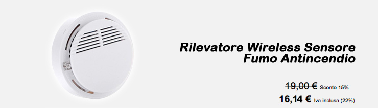 Rilevatore Wireless Fumo Antincendio