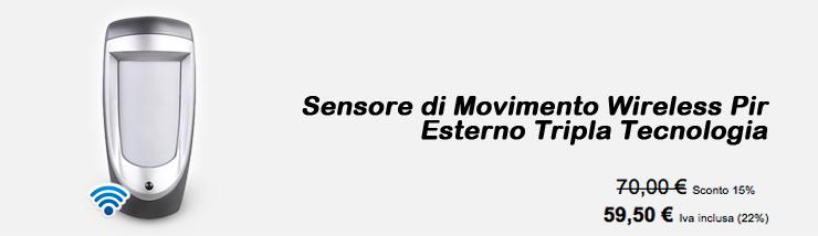 Sensore di movimento Wireless Pir Esterno Filare Tripla tecnologia