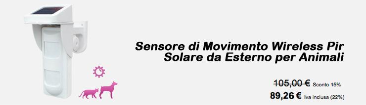 Sensore di Movimento Wireless Pir Solare da Esterno per Animali