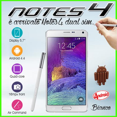 "NOTE 4 N910C - FROST WHITE SMARTPHONE QUAD CORE 5.7"" FULL HD ANDROID 4.4 DUAL SIM 16GB GPS"