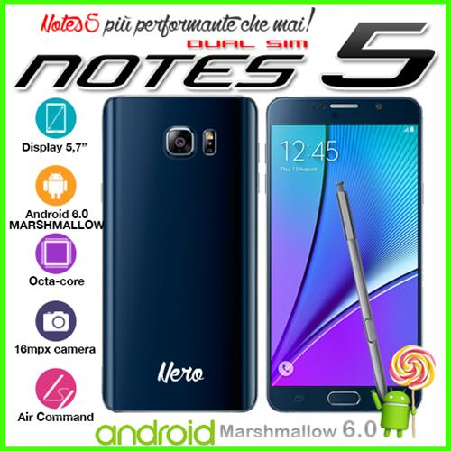 "NOTES 5 N920 - BLACK SMARTPHONE OCTA CORE TURBO BOOST 5.7"" HD SUPER ANDROID 6.0 MARSHMALLOW 32GB GPS"