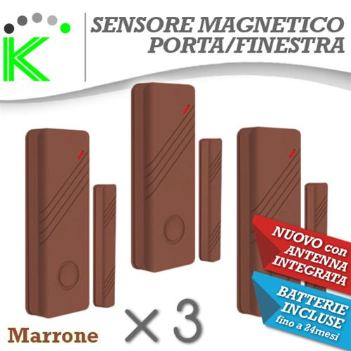 KIT N3 MAGNETICI MARRONI PORTE E FINESTRE WIRELESS ANTENNA INTEGRATA NEW DESIGN