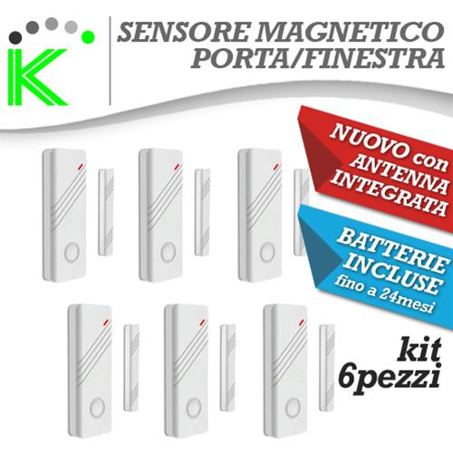 KIT N6 MAGNETICI BIANCHI PORTE E FINESTRE WIRELESS ANTENNA INTEGRATA NEW DESIGN