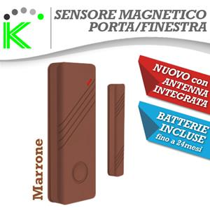 SENSORE MAGNETICO MARRONE PORTE-FINESTRE WIRELESS ANTENNA INTEGRATA NEW DESIGN
