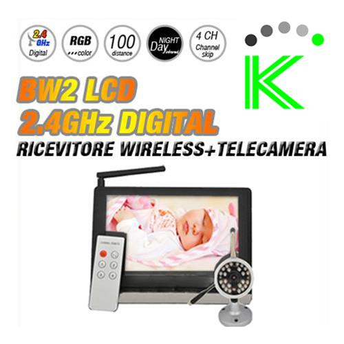 "BW2 -  RICEVITORE WIRELESS 2.4GHZ DIGITAL 7"" LCD + TELECAMERA"