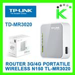 TP-LINK ROUTER WIRELESS 3G PORTATILE  TL-MR3020 PER CHIAVETTA USB INTERNET