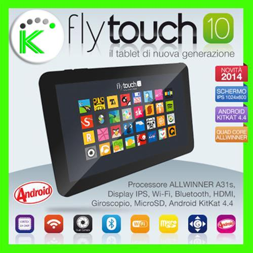 "TABLET FLYTOUCH10 ANDROID KITKAT 4.4  DISPLAY 10"" QUAD CORE 16GB WI-FI 1GB RAM"