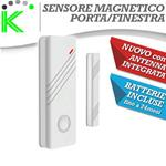 SENSORE MAGNETICO BIANCO PORTE E FINESTRE WIRELESS ANTENNA INTEGRATA NEW DESIGN